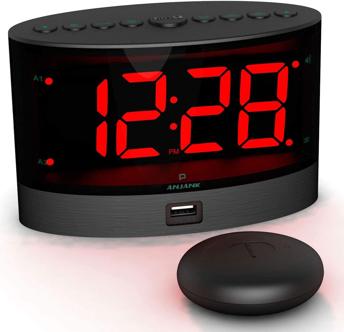 ANJANK Loud Alarm Clock with Wireless Bed Shaker, Powerful Vibrating Alarm Clock for Heavy Sleepers and Hard of Hearing, Large Number Display with Dimmer, Dual Alarm USB Charger Port for Bedroom