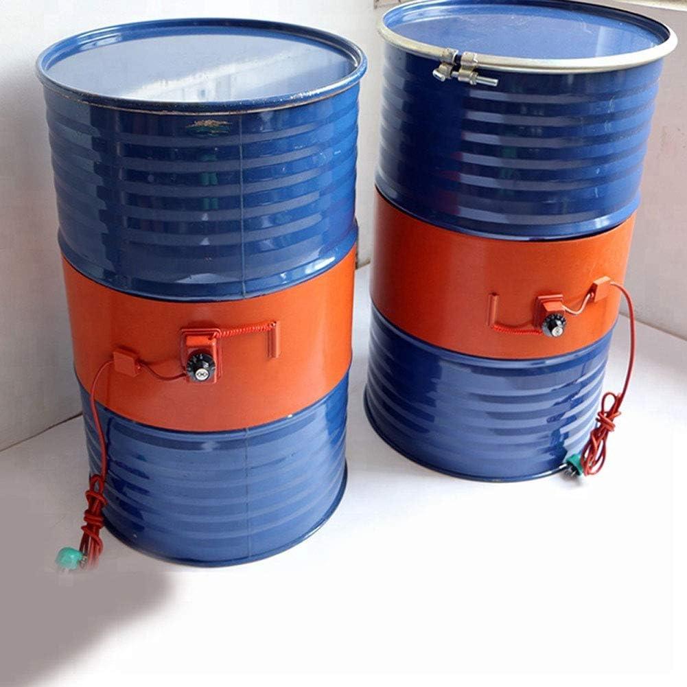 Q&Z Calentador De Tambor De Aceite De Metal De Silicona,Calentador De Banda De Tambor De 53 Galones / 200 Litros Calentador De Barril De Control De Temperatura Giratorio Aislado