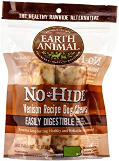 product image for Earth Animal Small No-Hide Dog Chews - Made in The USA, Natural Rawhide Alternative Treats (Venison, Small - 2 Chews)