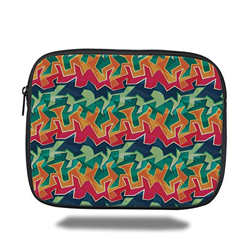 Laptop Sleeve Case,Grunge,Colorful Graffiti Inspired Pattern Cool Crazy Funky Display Urban City Street Art,Multicolor,iPad Bag by iPrint