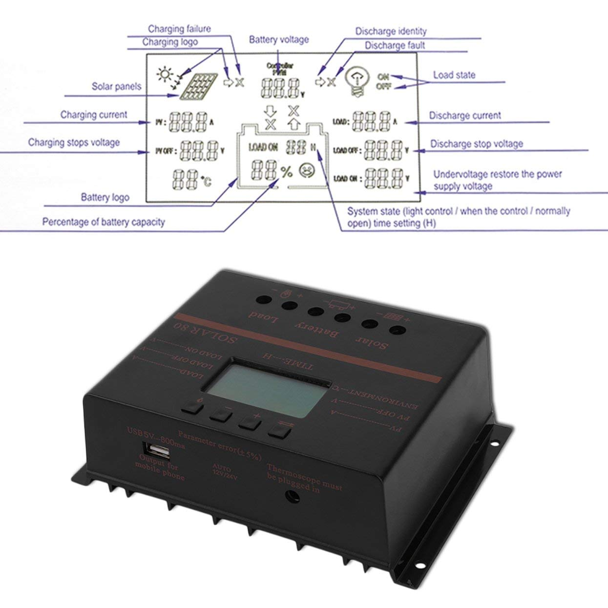 AMPM24US Solar Charger 12V 24V 80A LCD with USB Solar Battery Panel Regulator Discharge PWM Intelligent Solar Controller by AMPM24US (Image #7)
