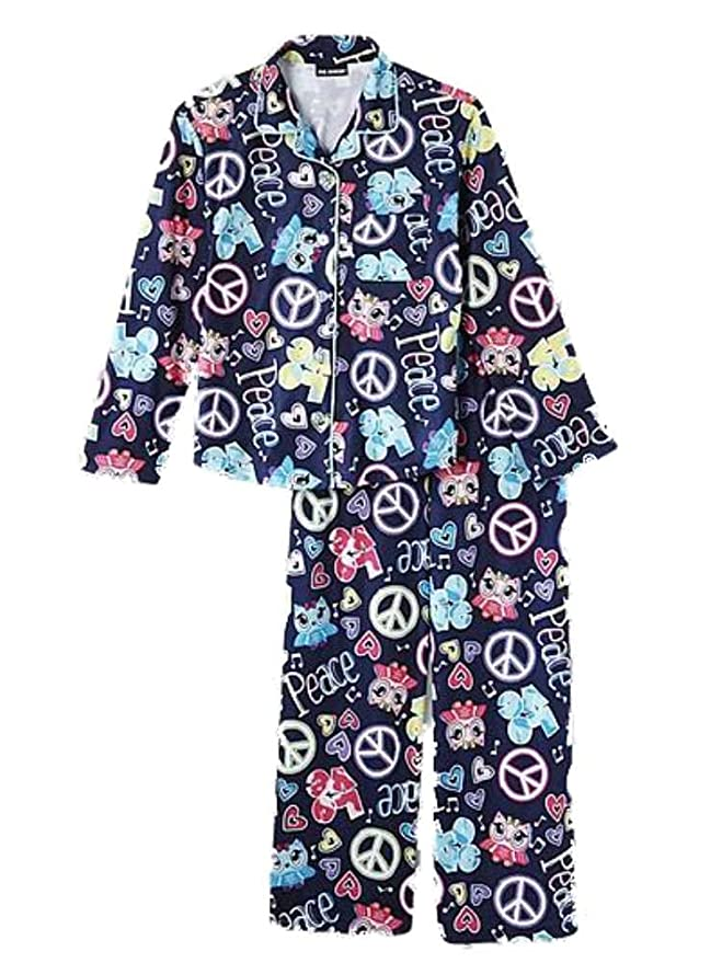 Amazon.com  Joe Boxer Girls Blue Flannel Sleepwear Set Peace   Love Owl  Pajamas PJs  Clothing 4934274ff