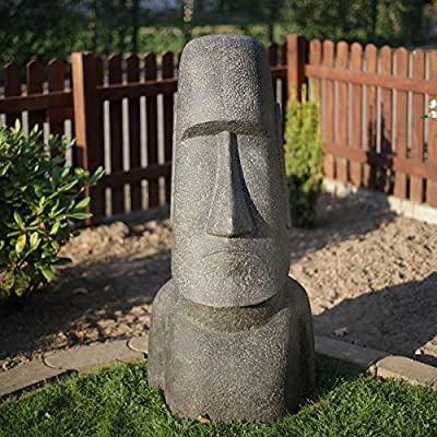 moái Escultura aprox. 120 cm de Rapa Nui Estatua de arena de Isla de Pascua de piedra de lava Figura Jardín – Cabeza decorativa gris: Amazon.es: Hogar