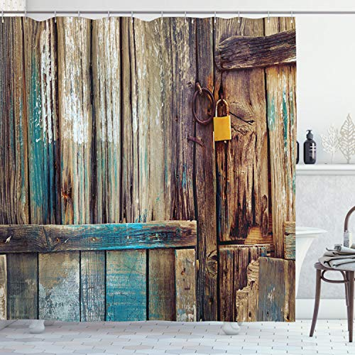 Ambesonne Rustic Shower Curtain, Aged Shed Door Backdrop with Color Details Country Living Exterior Pastoral Mansion Image, Cloth Fabric Bathroom Decor Set with Hooks, 70 Long, Brown Teal