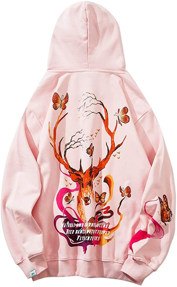 SONGHJ Streetwear Sweatshirt Hoodie Männer Wild Deer Schmetterling Harajuku Hoodie Lässig Baumwolle Fleece Kapuze Pullover Modisch S