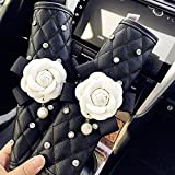 cover seat accessories car flower - Camellia Leather Car Seat Belt Cover Pads - Pack of 2