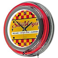 Stuckeys Vintage Checkered Chrome Double Ring Neon Clock