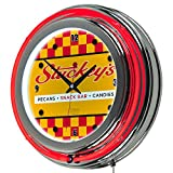 Stuckey's Vintage Checkered Chrome Double Ring Neon Clock
