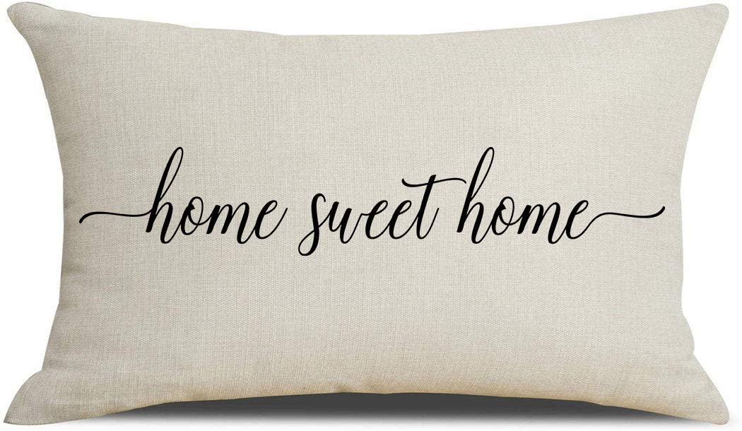 PSDWETS Farmhouse Throw Pillow Covers Home Sweet Home Quotes Cotton Linen Pillow Covers 12 x 20 Inches for Rustic Modern Farmhouse Decor Perfect Housewarming Gifts