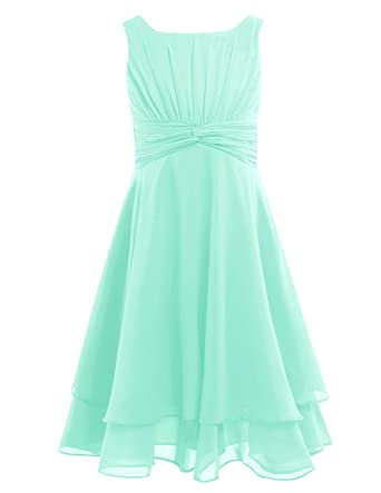 4a113443eb YiZYiF Girls Chiffon Knot Front Flower Girl Dress Communion Pageant Party  Gowns Mint Green 4