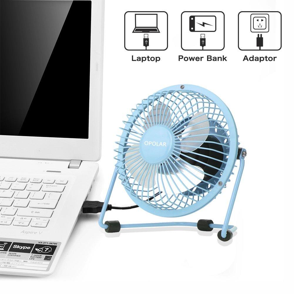 OPOLAR Mini USB Table Desk Personal Fan USB Powered, Metal Design, Quiet Operation; 3.9 ft USB Cord, Handheld Size, Power Saving - Pink