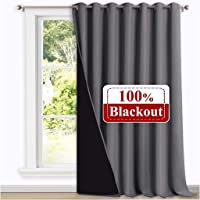 NICETOWN Soundproof Curtains - Thick Long Living Room Curtains Black Lined 100% Blackout Bedroom Curtains (100 by 108…