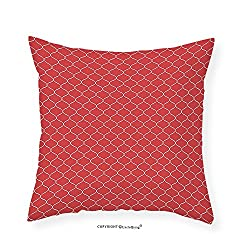 VROSELV Custom Cotton Linen Pillowcase Modern Vertical Wavy Lines Forming Elliptic Shapes Curvy Oval Modern Pattern Simple Classic for Bedroom Living Room Dorm Red Cream 28x28