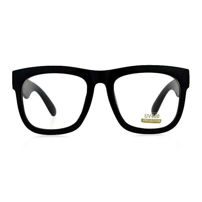 Amazon.com: Negro anteojos de cuadrado de gran tamaño gruesa ...
