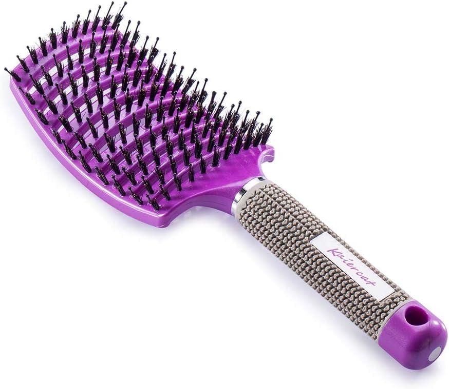 Kaiercat® Cepillo de cerdas de jabalí. mejor en desenredar cabello grueso ventilado para un secado más rápido con cerdas de jabalí 100% naturales para la distribución del aceite en el cabello(púrpura)