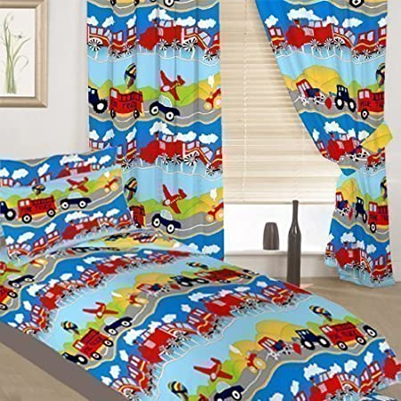 0ba7303c4d Childrens Junior Cot Bed Colourful Transport Print Complete Bedding Duvet  Cover Set with Matching Curtains.