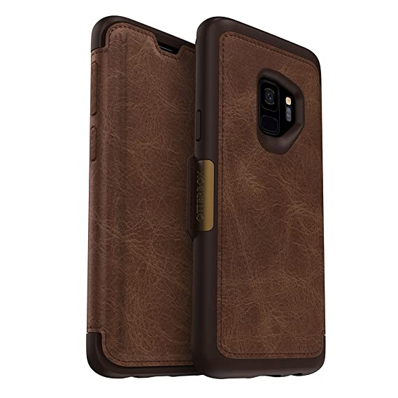 outlet store 816b5 b6648 OtterBox Strada Series Case for Samsung Galaxy S9 - Frustration Free  Packaging - Espresso (Dark Brown/Worn Brown Leather)