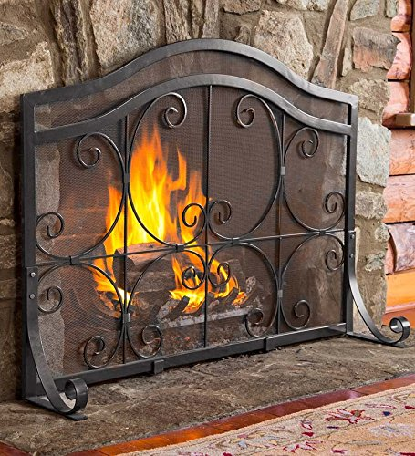 (Plow & Hearth Small Crest Flat Guard Fireplace Screen, Solid Wrought Iron Frame with Metal Mesh, Decorative Scroll Design, Free Standing Spark Guard 38 W x 31 H x 13 D, Black Finish)