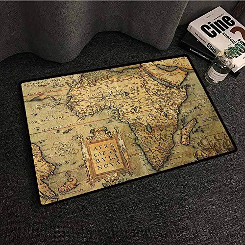 Wanderlust Decor Collection Entrance Door mat 16th Century Map of Africa Engraved and Colored by Cartographer Abraham Ortelius Image Suitable for Outdoor and Indoor use W24 xL35 Olive