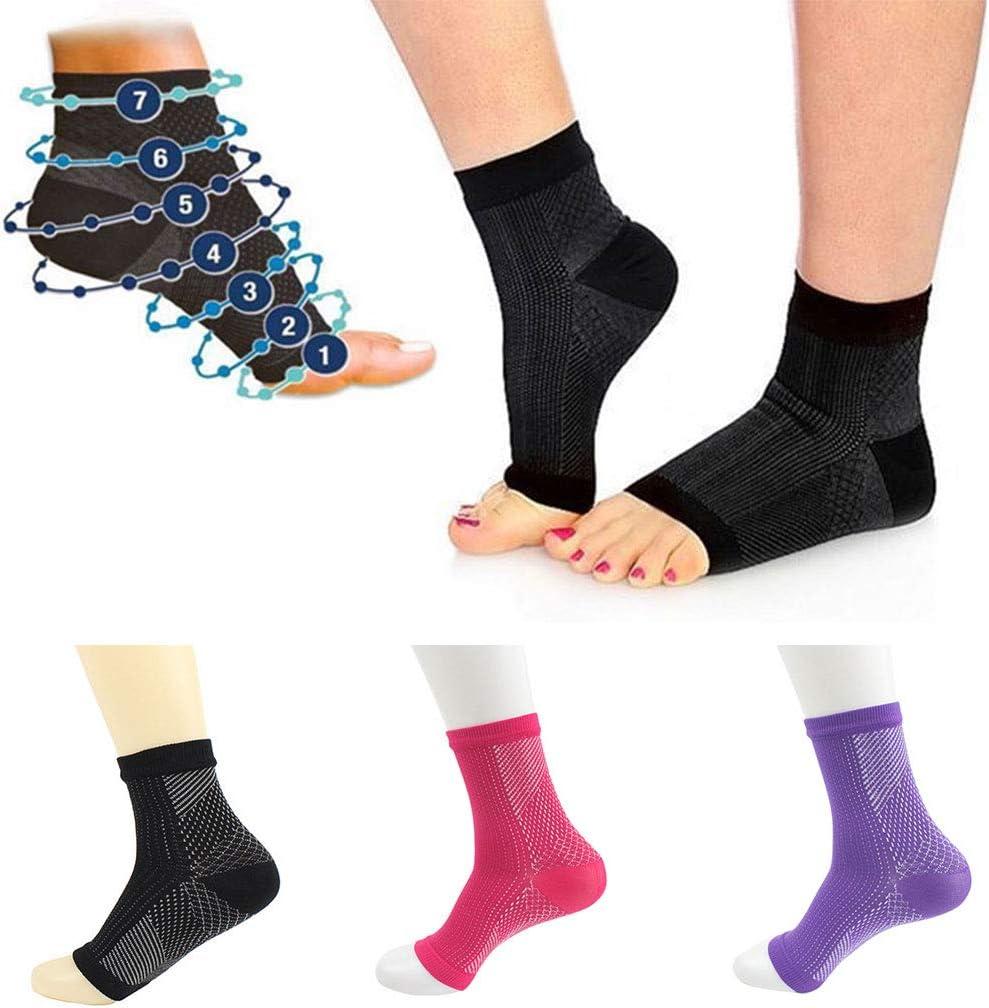 GROOMY Femmes Hommes Anti Fatigue Toe Pilates Compression Chaussettes de Sport Yoga Gymnase Fitness Cheville Manches Arche Soutien Soulagement de La Douleur /Élastique