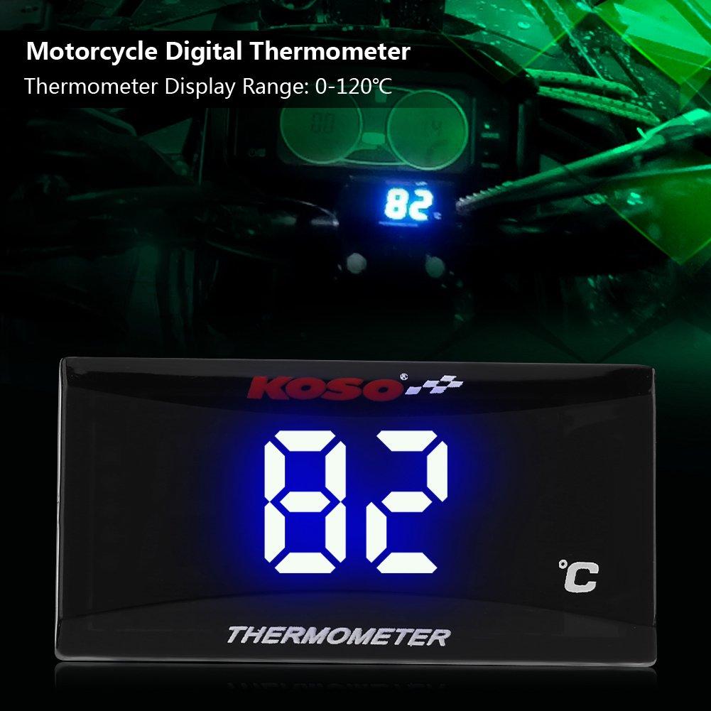 Qii lu Termometro digitale misuratore di temperatura dellacqua strumento termometro digitale del motociclo calibro luce blu