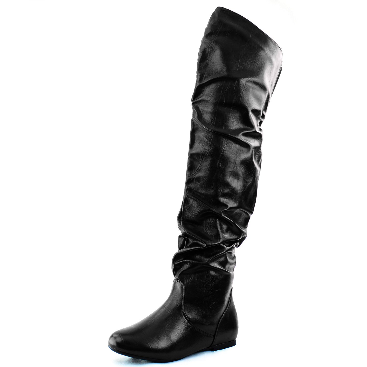 DailyShoes Women's Fashion-Hi Over-the-Knee Thigh High Flat Slouchly Shaft Low Heel Boots Black PU, 9 B(M) US