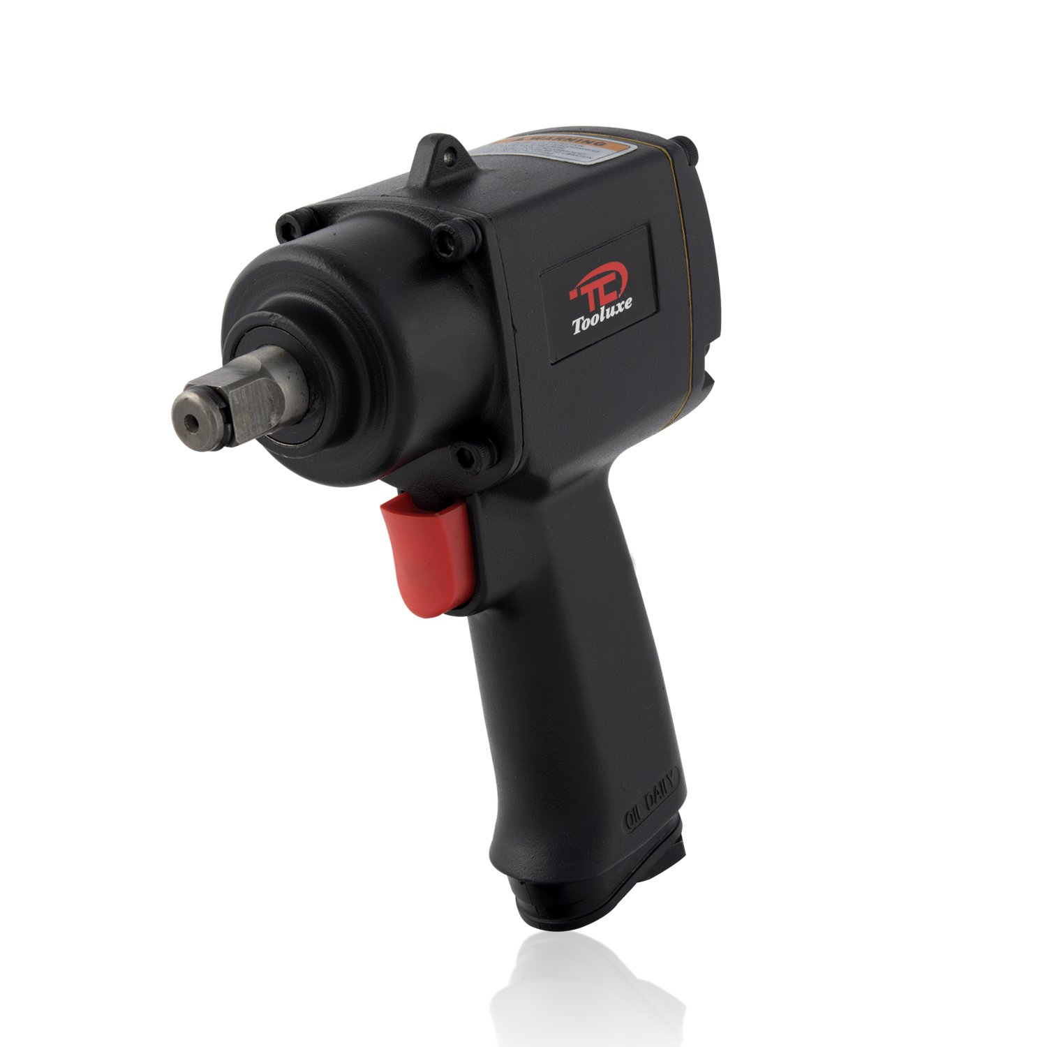 Tooluxe 31357L 1/2 Inch Square Drive Mini Air Impact Wrench | High Torque and Super Duty with Twin Hammer Mechanism