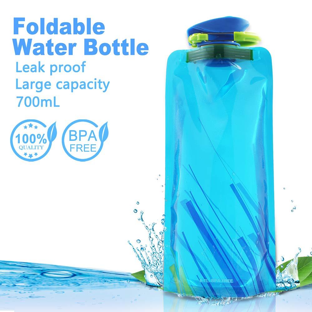 Wiederverwendbar Trinkrucks/äcke f/ür Wandern,Abenteuer,Reisen,Bergsteigen,Camping usw. Nasharia 700ML Faltbare Wasserflaschen Set von 4 ━ BPA Frei