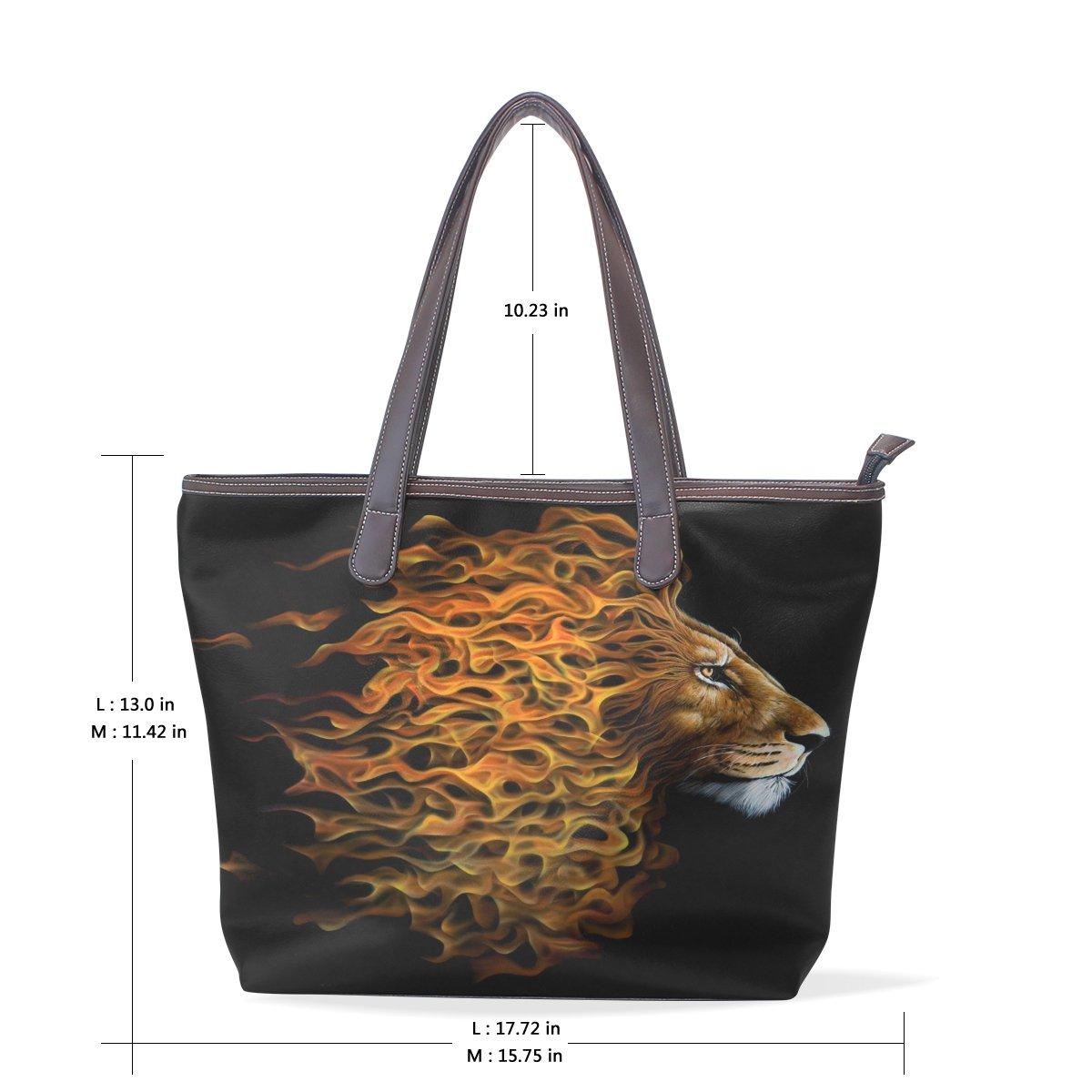 SCDS Fantasy Lion PU Leather Lady Handbag Tote Bag Zipper Shoulder Bag