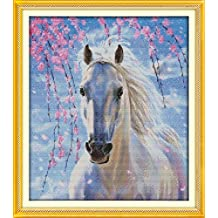 YEESAM ART New Cross Stitch Kits Advanced Patterns for Beginners Kids Adults - White Horse 11 CT Stamped 46×53 cm - DIY Needlework Wedding Christmas Gifts