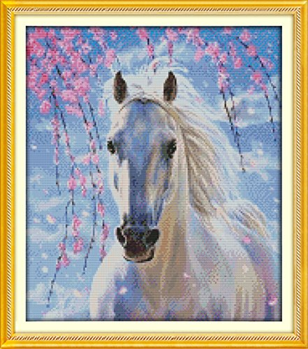 - YEESAM ART New Cross Stitch Kits Advanced Patterns for Beginners Kids Adults - White Horse 11 CT Stamped 46×53 cm - DIY Needlework Wedding Christmas Gifts