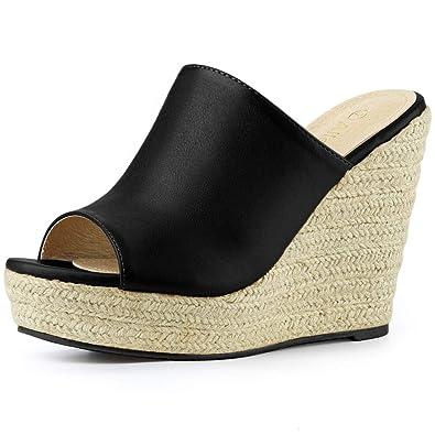 be961ea2442 Allegra K Women s Open Toe Espadrille Platform Black Mules - 6 ...
