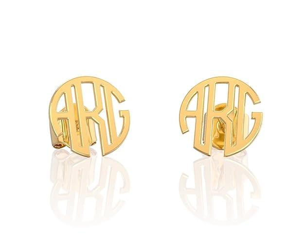 82bddd64f Amazon.com: Personalized monogram earrings studs Name earring silver ...