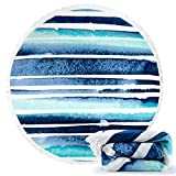 Ricdecor Round Beach Towel Large Mandala Beach Towel Blanket with Tassels Ultra Soft Super Water Absorbent Multi-Purpose Beach Throw 59 inch across By (NO.57)