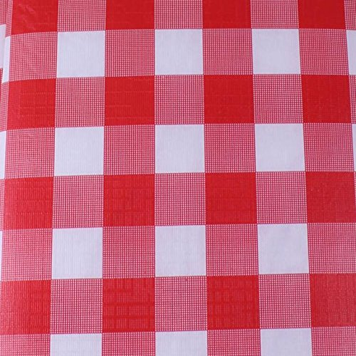 Exquisite Flannel Backed Vinyl Tablecloths, Solid Color Premium Quality Waterproof Table Cover (70 Inch. Round, Red Gingham (Checkerboard)) (Gingham Vinyl Tablecloth)