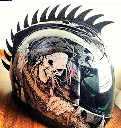 Amazon.com: Black Sawblade Rubber Peel and Stick Helmet Mohawk Plus Bonus Shark Fin Motorcycles Dirt Bikes Snow Boarding Skiing Skate Bmx Kids Helmets ...