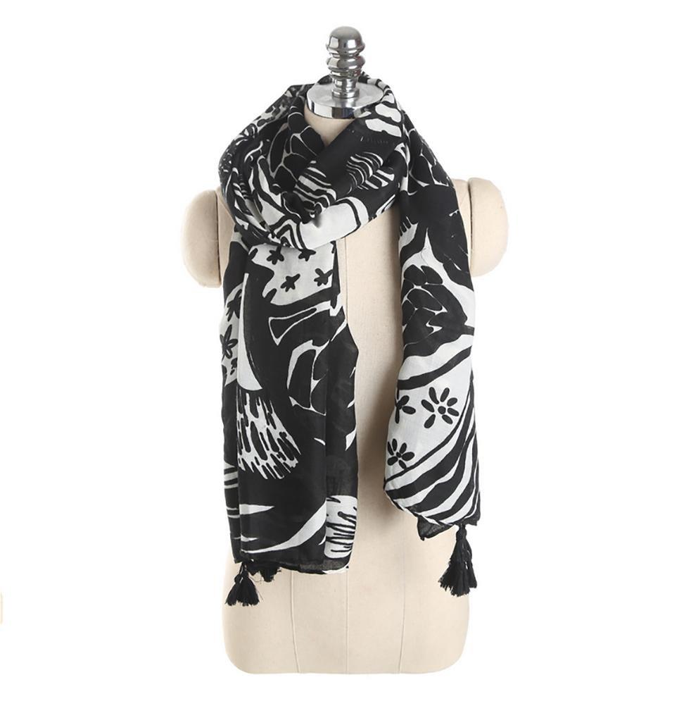 SALY Otoño, blanco y negro, flores, tinta, patrón, bufanda , 170*95cm