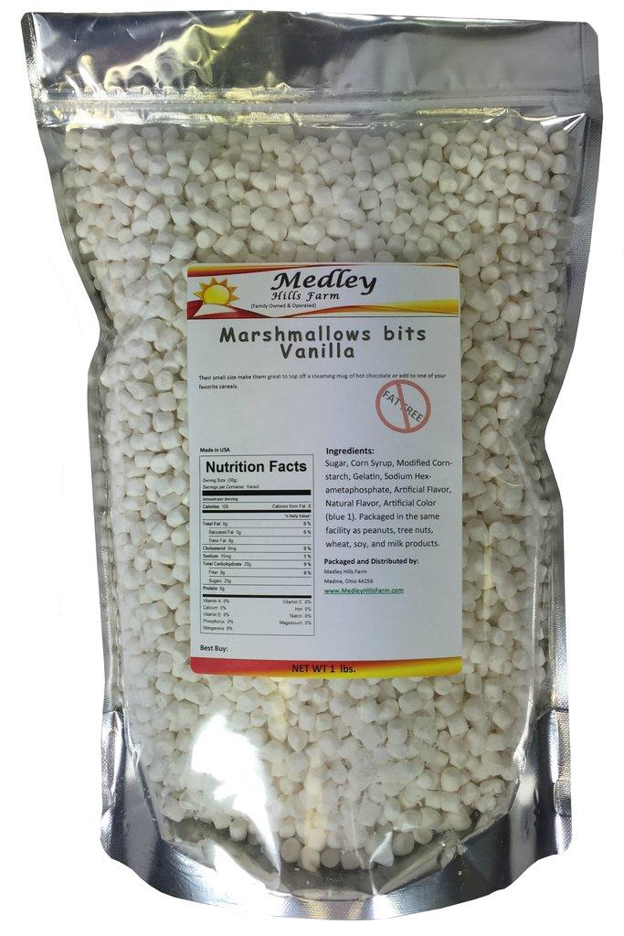 Medley Hills Farm Fat Free Marshmallow bits Vanilla Flavor Dehydrated Marshmallows 1 lb