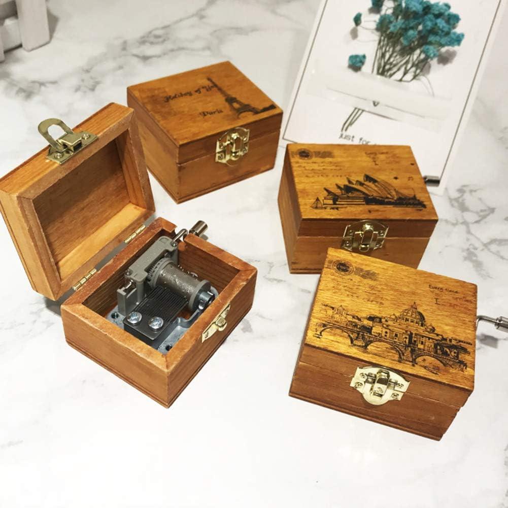 Mini Carillon Vintage a manovella in Legno Regalo di Compleanno Decorazione di Natale 1#
