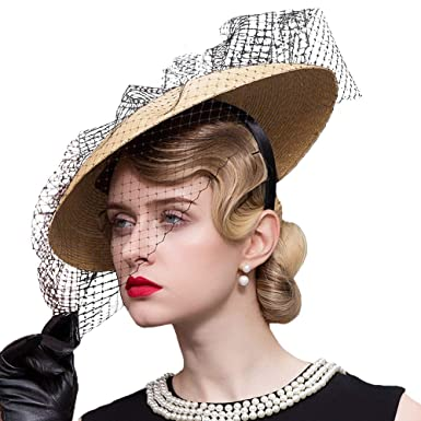 ce682c84ddff7 FADVES Fascinators Hat Straw Kentucky Derby Tea Party Headwear Bowkont Veil  Hats at Amazon Women s Clothing store