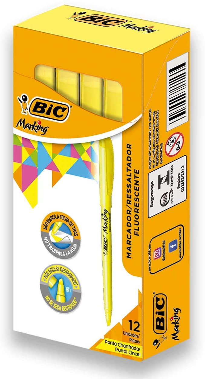 BIC Brite Liner Highlighter, Chisel Tip, Yellow, 12-Count, For Broad Highlighting or Fine Underlining : Yellow Markers : Office Products