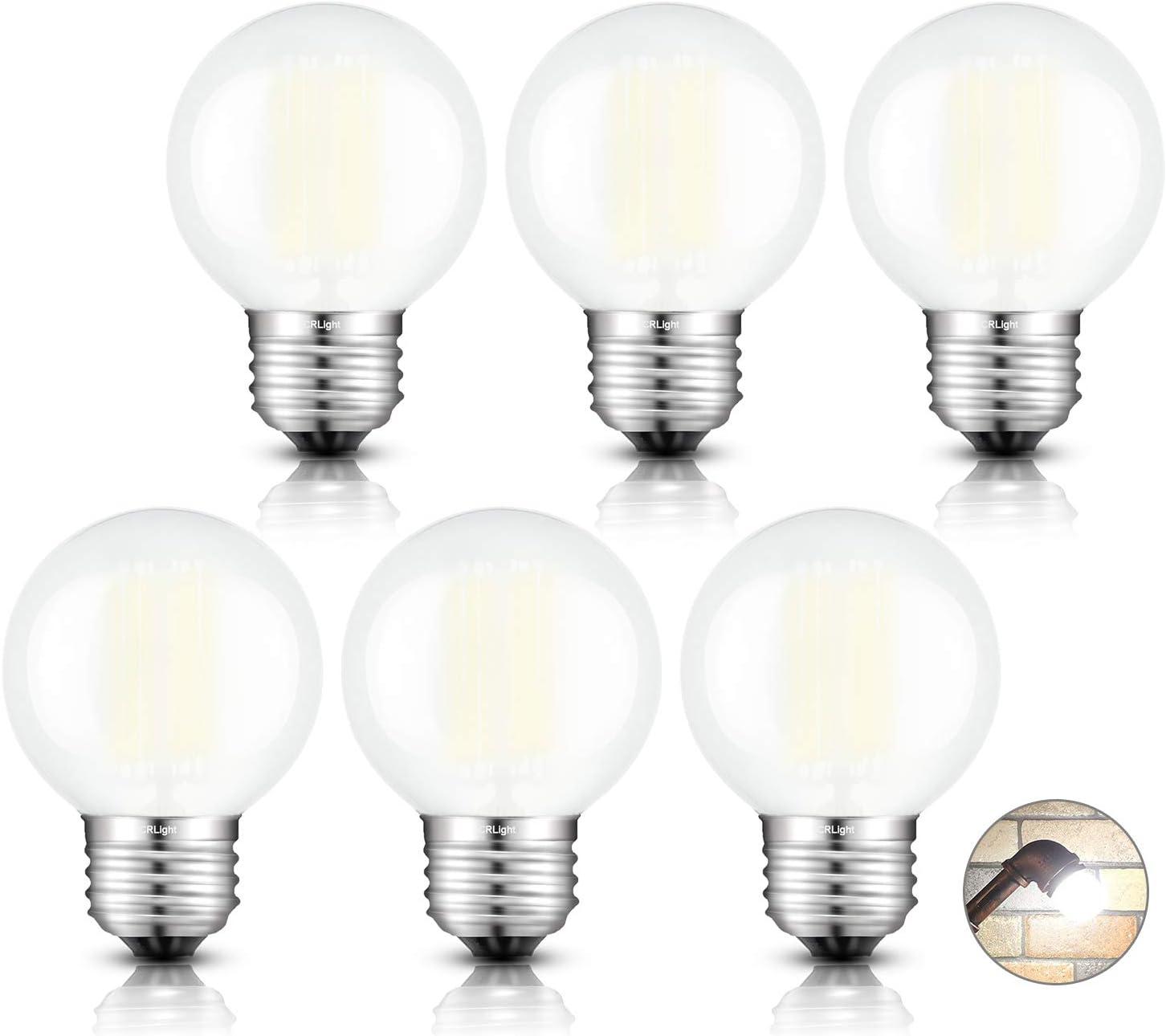 CRLight 6W Edison LED Globe Bulb 4000K Daylight White, 65W Equivalent 650 Lumens Dimmable, E26 Base Vintage Style G16 Globe Frosted Glass Ceiling Fan Bathroom Vanity LED Filament Light Bulbs, 6 Pack
