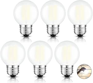 CRLight 6W Edison LED Globe Bulb 4000K Daylight White, 65W Equivalent 650 Lumens Dimmable, E26 Base Vintage Style G16 Globe Frosted Glass Ceiling Fan Bathroom Vanity LED Filament Light Bulbs, 6 Pack