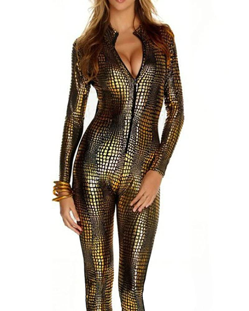 FASHION QUEEN Women's Zipper Front Snake Skin Print Cat Suit Fetish Gothic