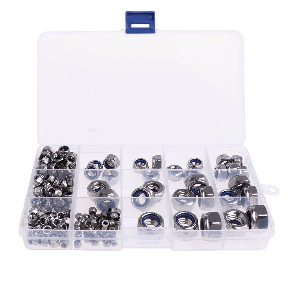 MagiDeal Metric 304 Stainless Steel Nylon Lock Nuts Assortment M3 M4 M5 M6 M8 M10 M12