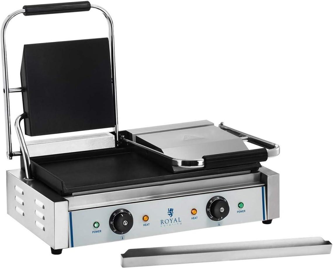 3600-F 2x1800W, plaque de cuisson 48,5x23,5cm, r/écup/érateur de graisse en inox Royal Catering Machine /à Panini Toaster Lisse RCKG