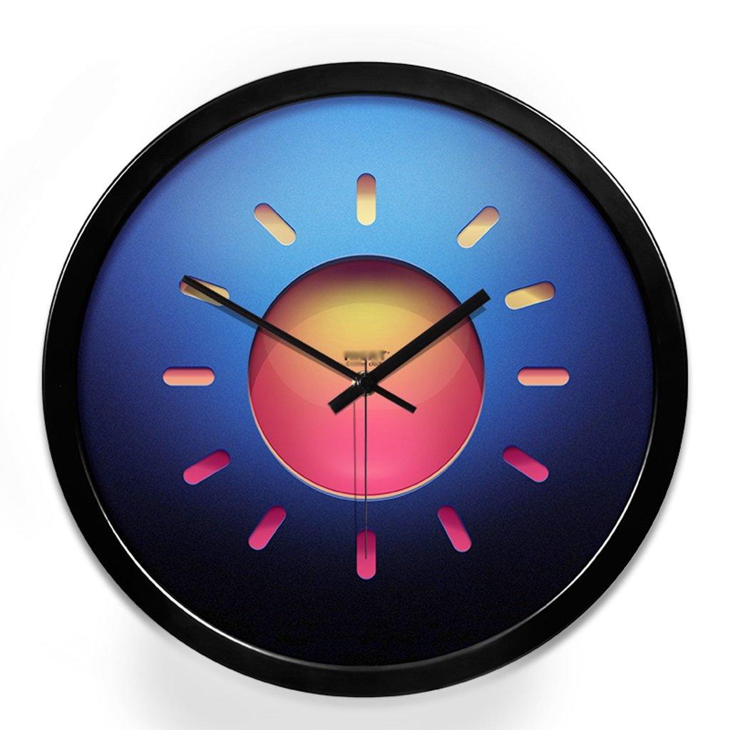 メタルパーソナリティ円形ウォールクロックホームベッドルームミュートクロック (Color : Black, Size : 14in) 14in Black B07GF4CY5H