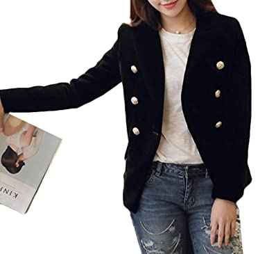 BYWX Women Slim Fit Double-Breasted Velvet Blazer Jacket Suit Coat Black US  L 25f72b3fb6