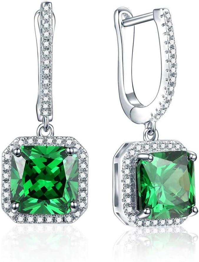 Creado Verde Esmeralda 925 Pendientes de Plata esterlina Joyas de Piedras Preciosas para Mujeres Pendientes de Boda Regalos de joyería Fina