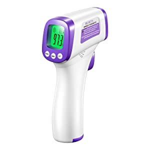 Infrared Thermometer for Adults, Non Contact Forehead Thermometer with Fever Alarm, Accurate Reading and Memory Function, Baby, Infants, Old People and Surface of Objects Use - NO Battery Included